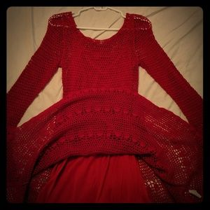 Anthropology Crocheted Red Dress size Small